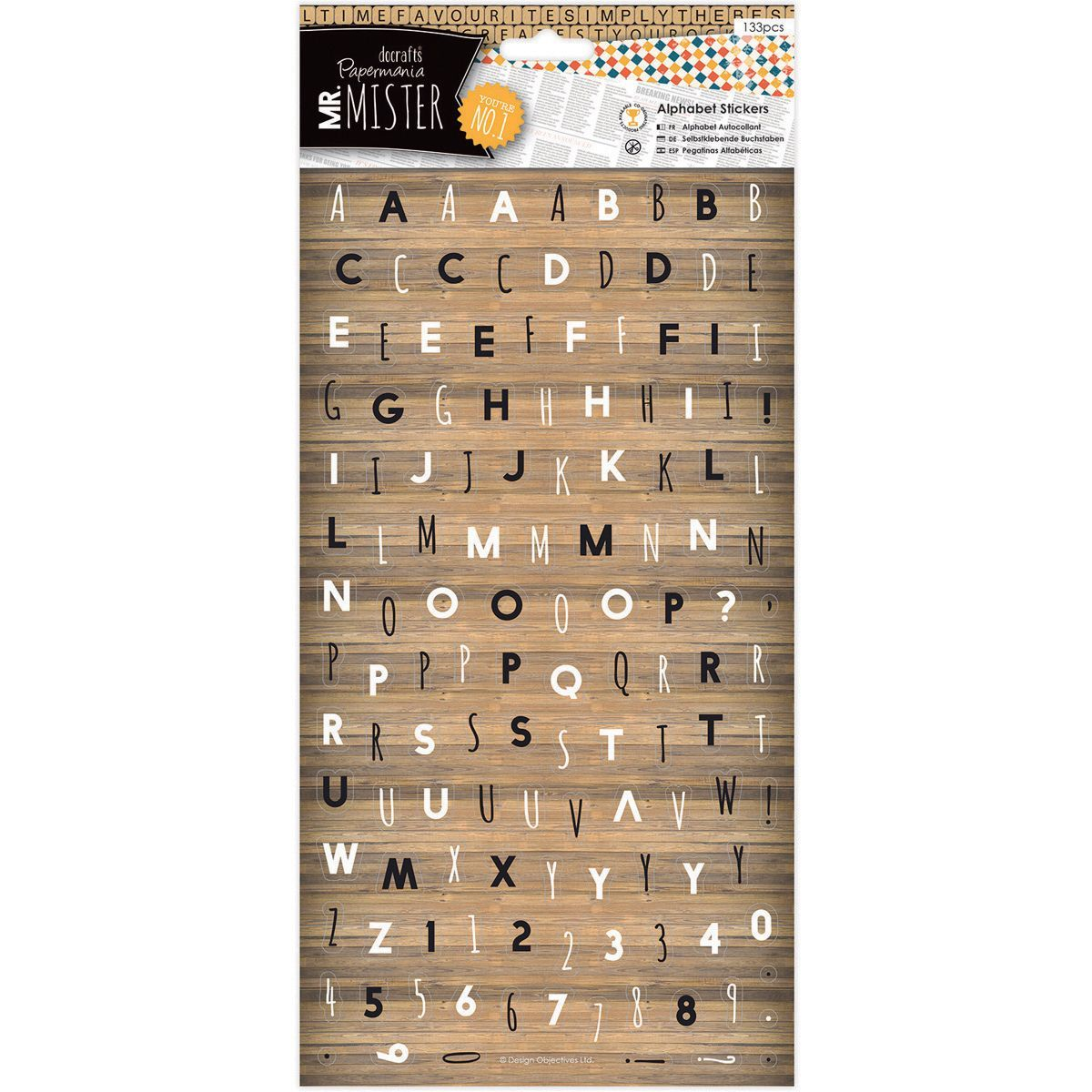 docrafts Papermania Mr. Mister Alphabet Stickers 6X11in