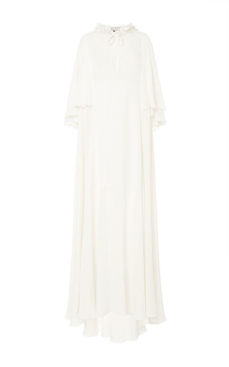Double Crepe Georgette Long Dress by Elie Saab for Preorder on Moda Operandi