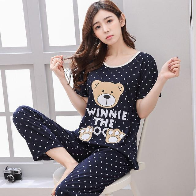 1a8ec61da6 Pajamas Sets Cotton Short-Sleeve Shirts And Pants Animal Print Sleepwear.