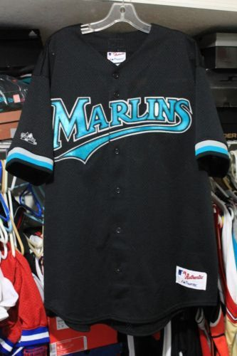40c8acb38 Majestic Florida Marlins Black Teal Batting Practice Authentic Jersey Size  XL