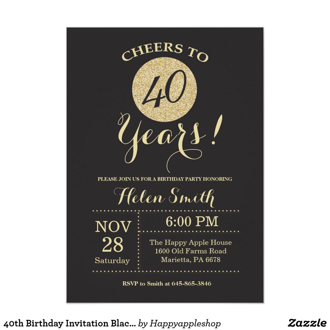 40th Birthday Invitation Black and Gold Glitter Zazzle