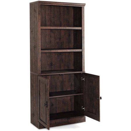 Better Homes And Gardens Crossmill Bookcase With Doors Multiple Finishes Image 2 Of 2 Walnut Bookcase Wood Bookcase Bookcase