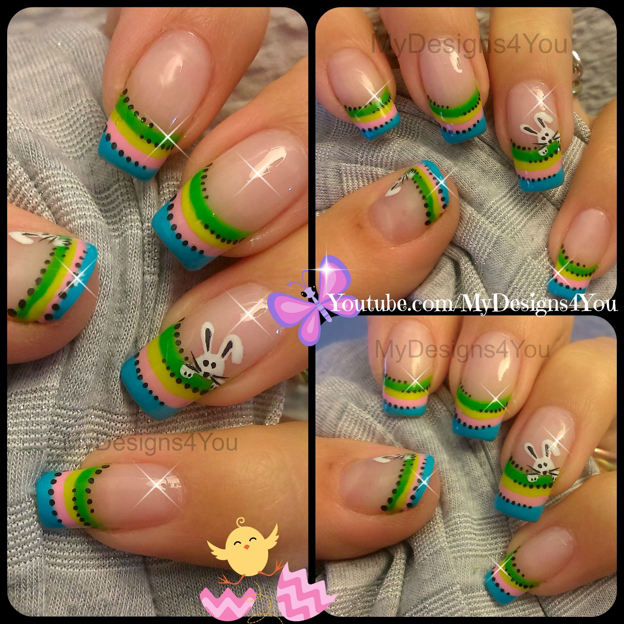 Cute Easter Bunny Nail Art Spring Nails Httpsyoutube
