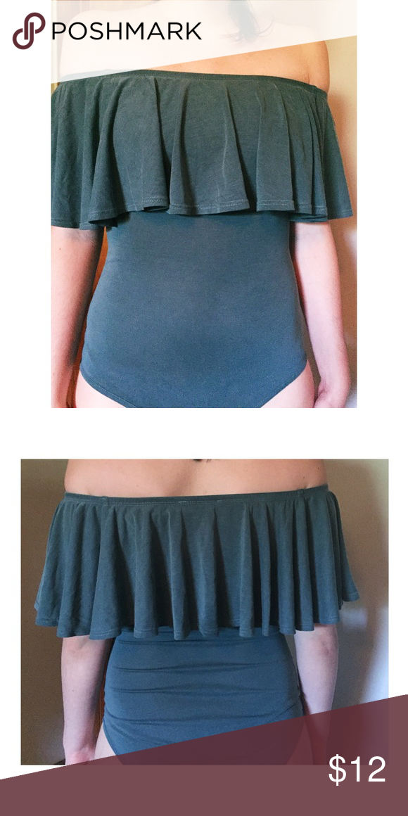 043a9d393a Forever21 Teal Off Shoulder Ruffled Bodysuit Forever 21 dark teal bodysuit.  Off the shoulder