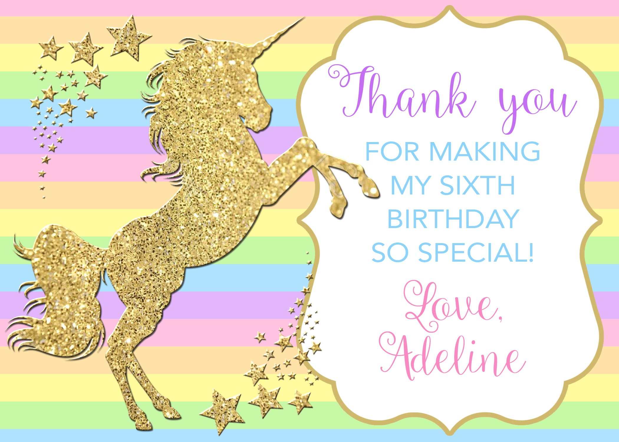 Unicorn Thank You Card Rainbow Unicorn Party Unicorn Birthday