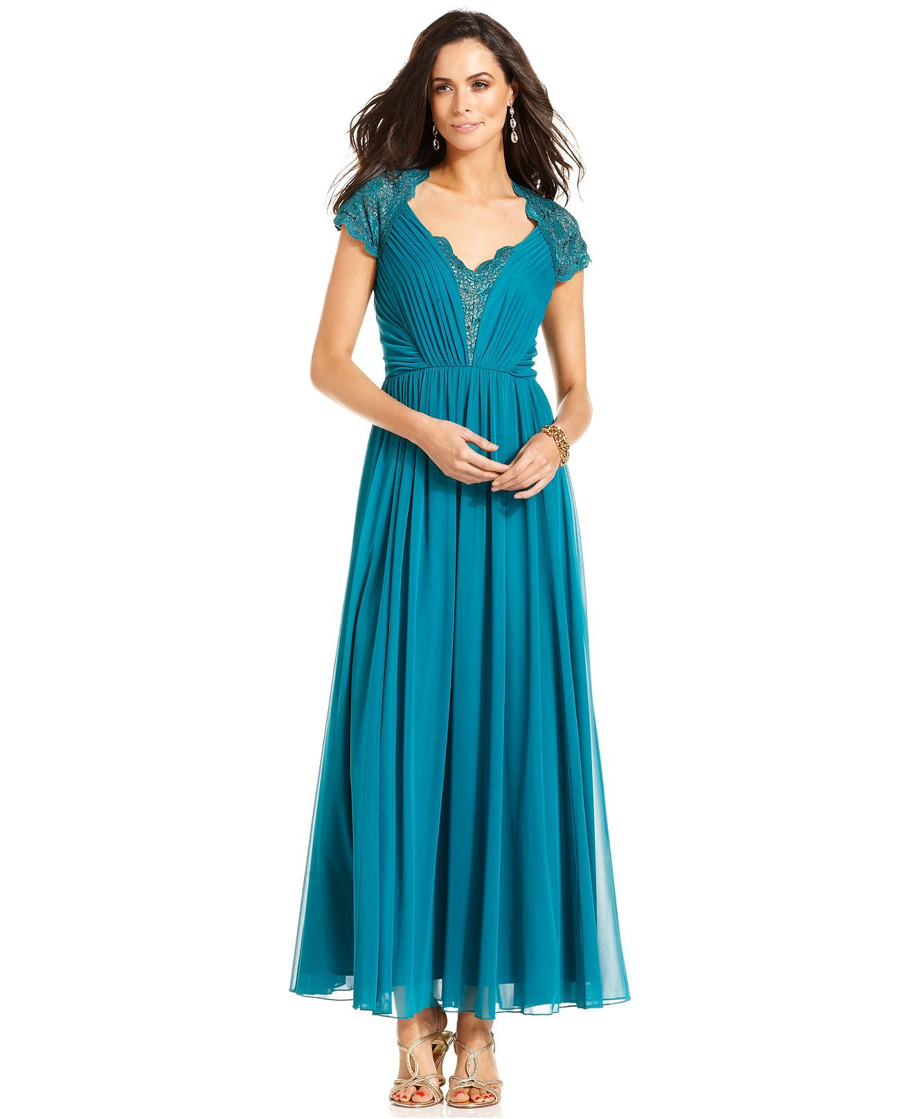 Alex Evenings Dress, Short-Sleeve Sequined Lace Pleated Gown ...