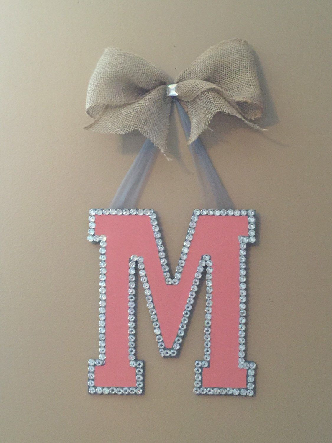 Glamorous Monogram Initial Door Hanger, Wreath, Front Door Hanger, Personalized, Letter Door Hanger, Custom Orders Welcome! by GBTButtonsNBows on Etsy https://www.etsy.com/listing/235599313/glamorous-monogram-initial-door-hanger