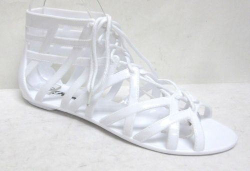 NEW-WOMENS-JELLY-SANDALS-CUT-OUT-FLAT-LACE-UP-TRENDY-SANDALS