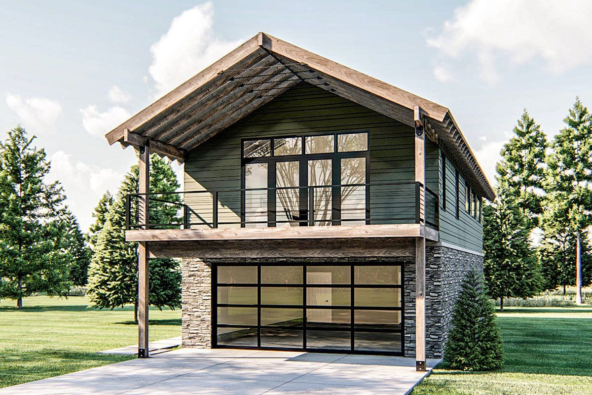 Plan 62847dj 2 Bed Modern Rustic Garage Apartment With Vaulted Interior Lake Front House Plans Carriage House Plans Garage Apartments