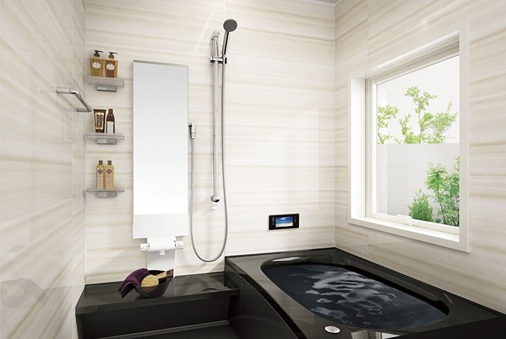 黒い浴槽のお風呂ってカッコいいけど汚れがねぇ 白黒のバスルーム