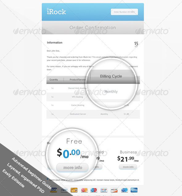 Order Confirmation Mail Confirmation, Template and Fonts