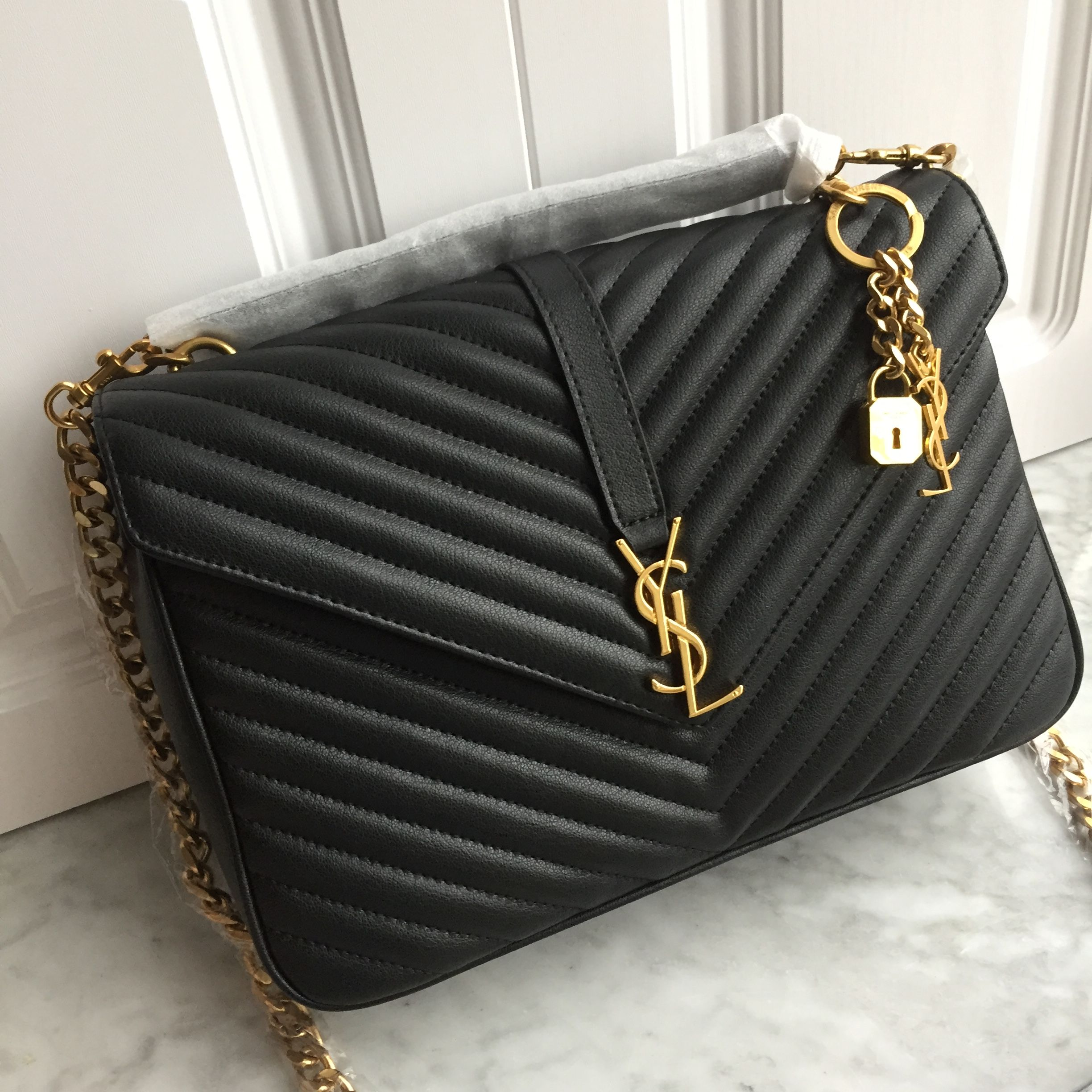 GLAMBARBIE 👑 👑👑 Ysl Saint Laurent slp college chain flap bag black large  size 8db24a0f73ca2