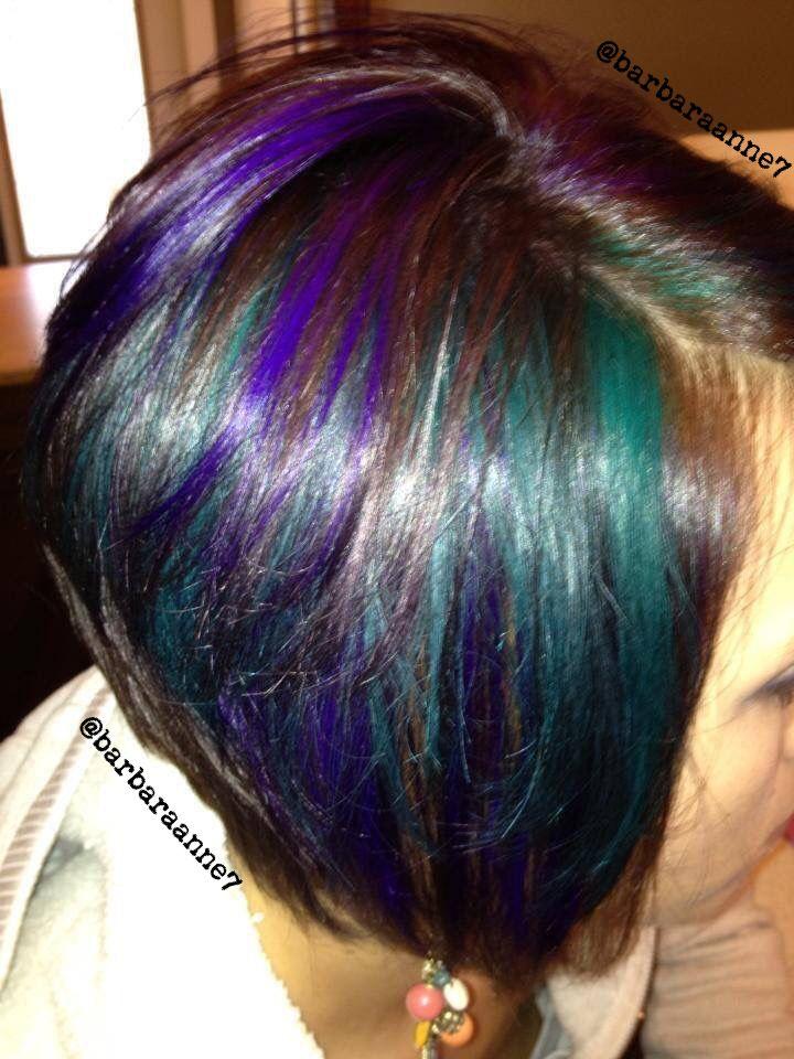 Purple, Green Hair @pravanapro Vivids, Peacock Hair Color, Diagonal Forward  Haircut,