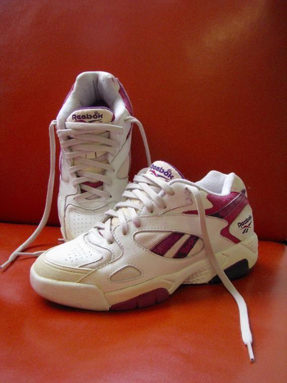 91f737827b76 Rare Vintage sneaker Reebok Hexalite Hardcourt basketball tennis running  shoe - 80s White Leather Purple Aerobics Shoes - 1990 chunky Reebok