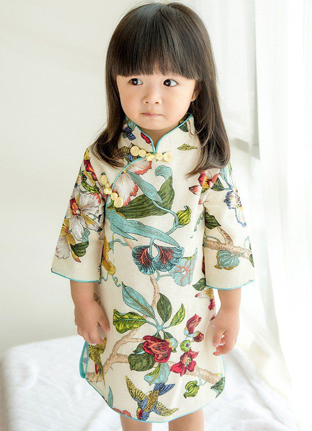2b5317ced25 Cute White Signature Cotton Floral Pattern Qipao for Kid   Infant -  iDreamMart.com