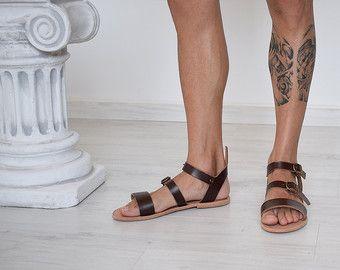 Mannen sandalen, handgemaakte sandalen, lederen sandalen, zomer sandalen, strand sandalen, bruine kleur, Griekse sandalen, Sparta sandalen, slippers