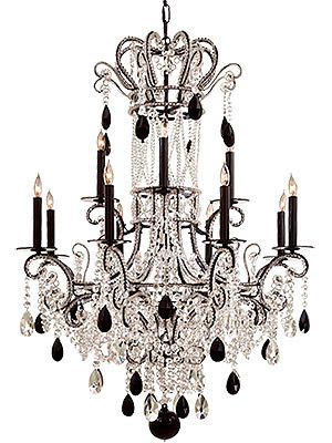 Empress Chandelier With Black And Clear Crystals Adds Drama To The Room Crystal Chandelier Chandelier Lighting Chandelier