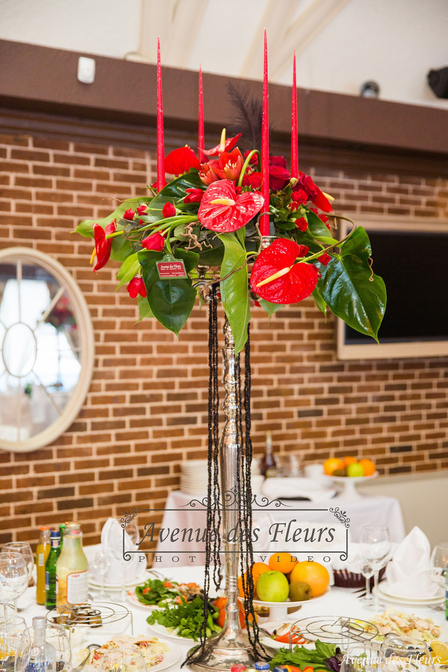Red Centerpiece Event Table Arrangement Red Wedding Centerpiece @Avenuedesfleurs Www