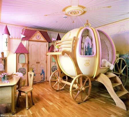 a cinderella carriage made into a bed would be perfect for a disney princess
