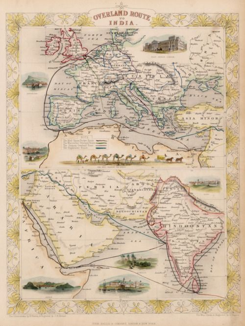 Land route to india vintage pinterest india and wanderlust a 1851 map of the routed from england to india ill have to add the german overland route to my list of places to travel gumiabroncs Choice Image