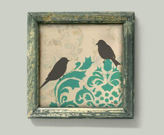 Love Bird Print Damask Wall Decor Art Cottage Chic
