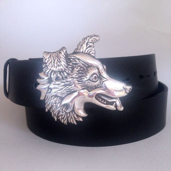 Solid Silver Border Collie Buckle & Belt
