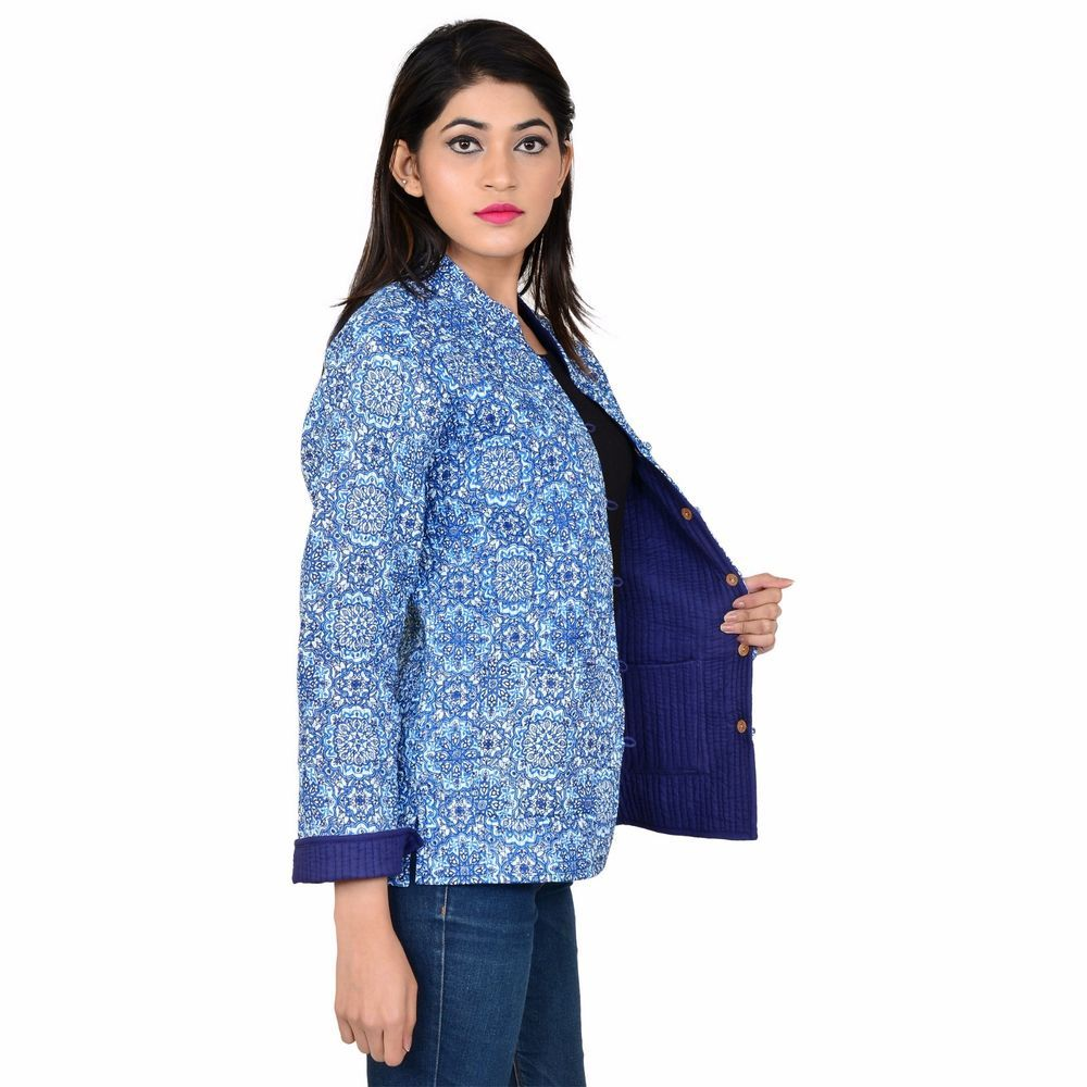 Reversible coat indian hand block printed cotton quilted women