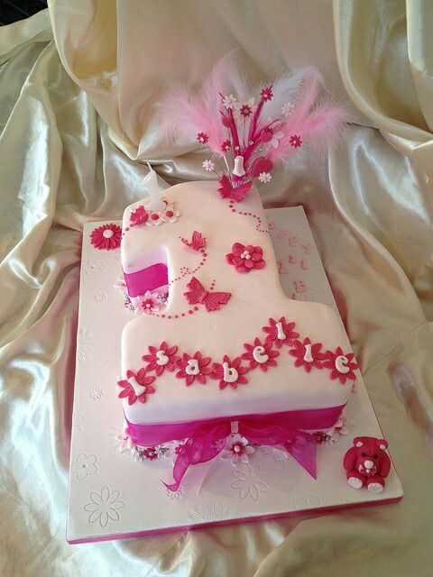 Little girls first Birthday Cake Pinteres