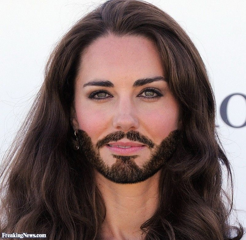 Duchess of Cambridge Kate with a Beard