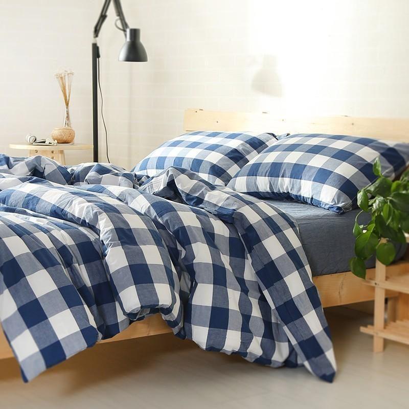 Navy Blue 100% Cotton Naked Gingham Duvet Cover Bed Sheet Set 800TC