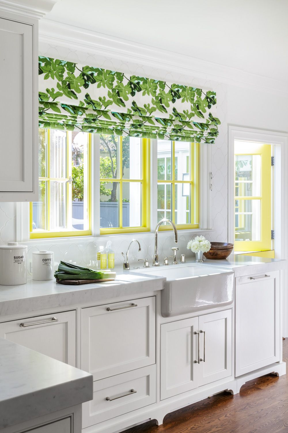 White kitchen with yellow accents | Ann Lowengart Interiors ...
