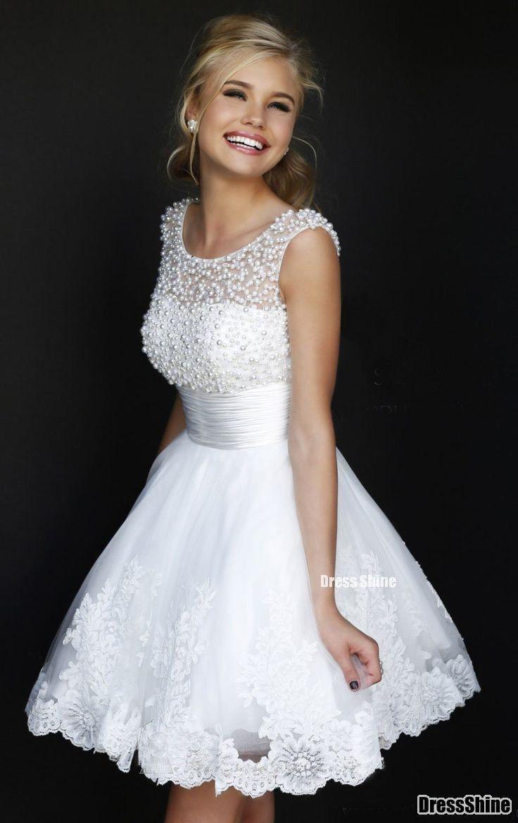 Short prom dress beaded scoop neckline white lace prom dressshort
