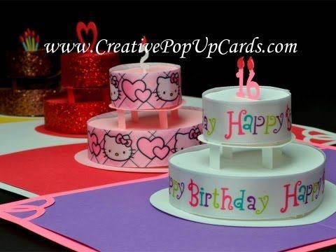 Birthday or Wedding Cake Pop Up Card Template - Creative Pop Up - birthday cake card template