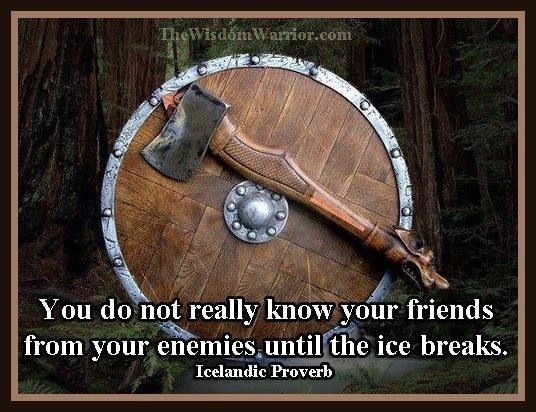 Icelandic Proverb: You do not really know your friends ...