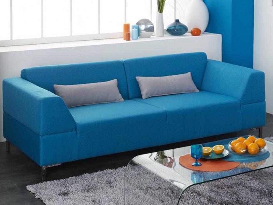 Canap 3 Places En Tissu LAHTI Bleu Canaps Hauts