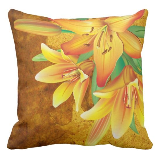 Tropical Gold Lilies - Throw Pillow