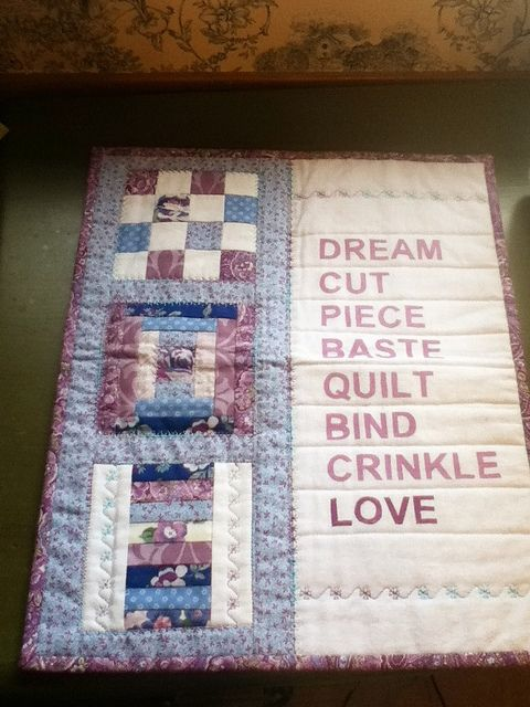 I don't like the colors on this, but it's a cute idea to add words to a mini-quilt. (use muslin ironed to freezer paper, fed thru regular printer)