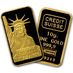 Credit Suisse 10 Gram Gold Bar 9999 Fine Gold Bullion Bars Credit Suisse Gold And Silver Coins
