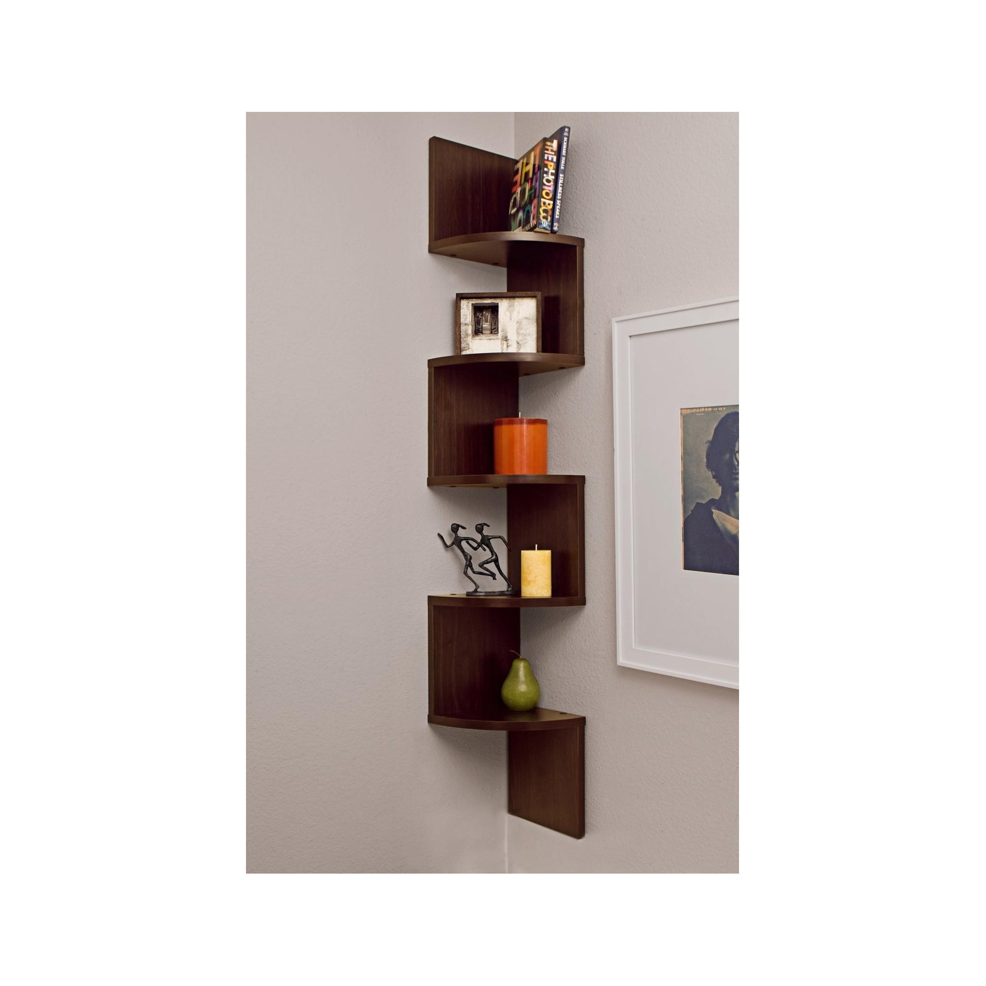 48 5 X 7 7 Zigzag Corner Shelf Walnut Danya B Brown Kitchen Ideas In 2019 Corner Shelves Wall Shelves Wall Mounted Shelves