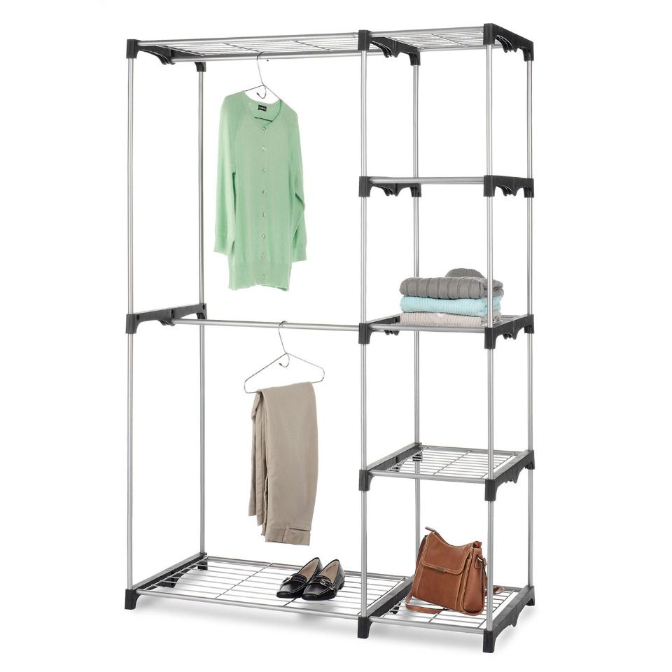 Whitmor double rod closet in silver beyond the rack getting