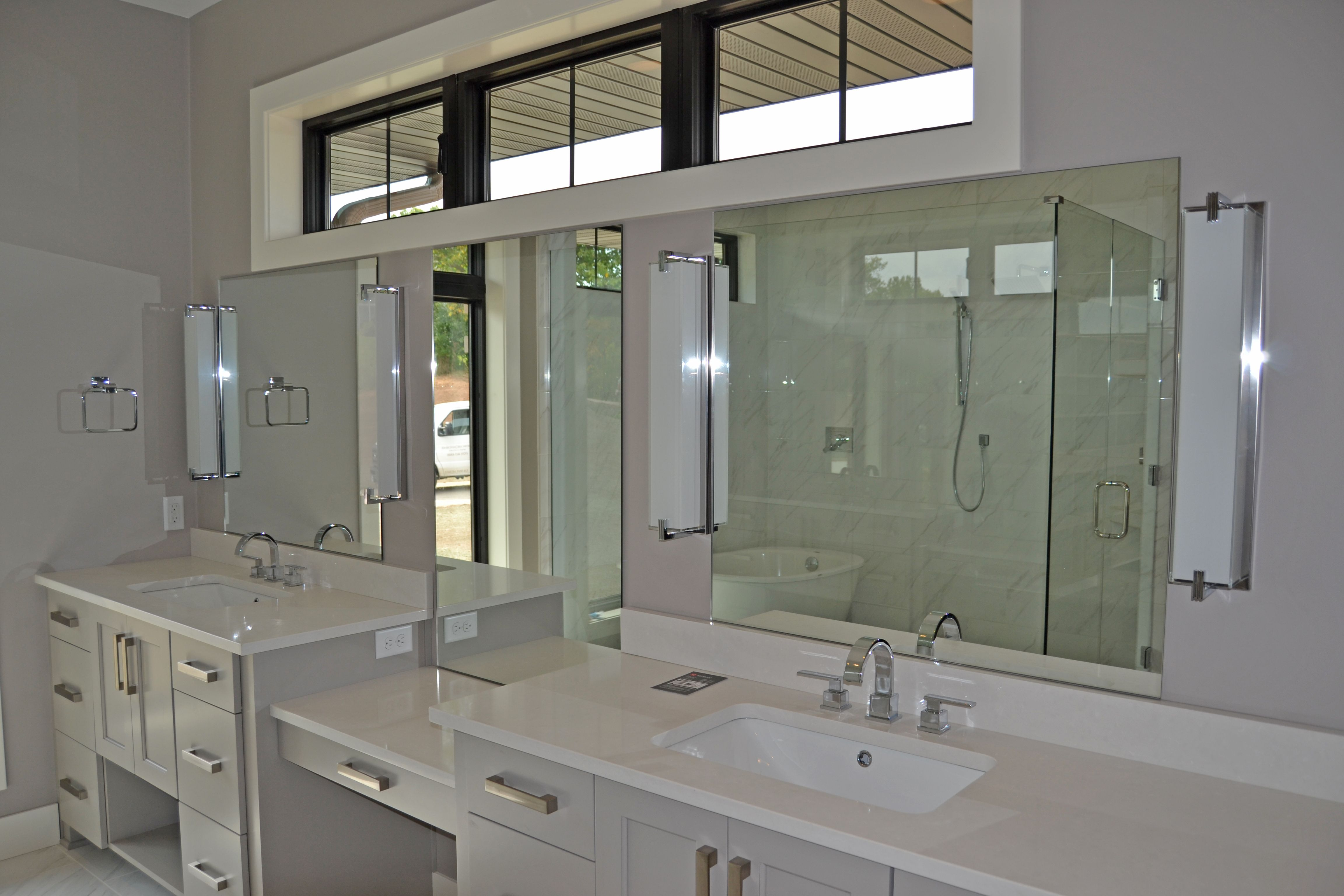 Vanity mirrors in a master bath.