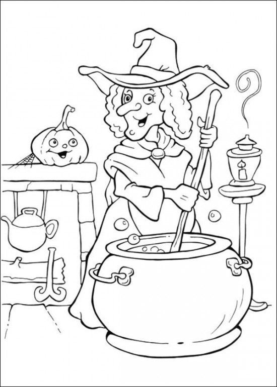 Witch Coloring For Halloween