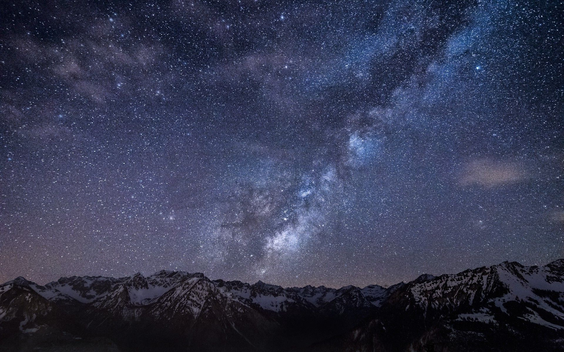 Starry sky above the mountains HD wallpaper download