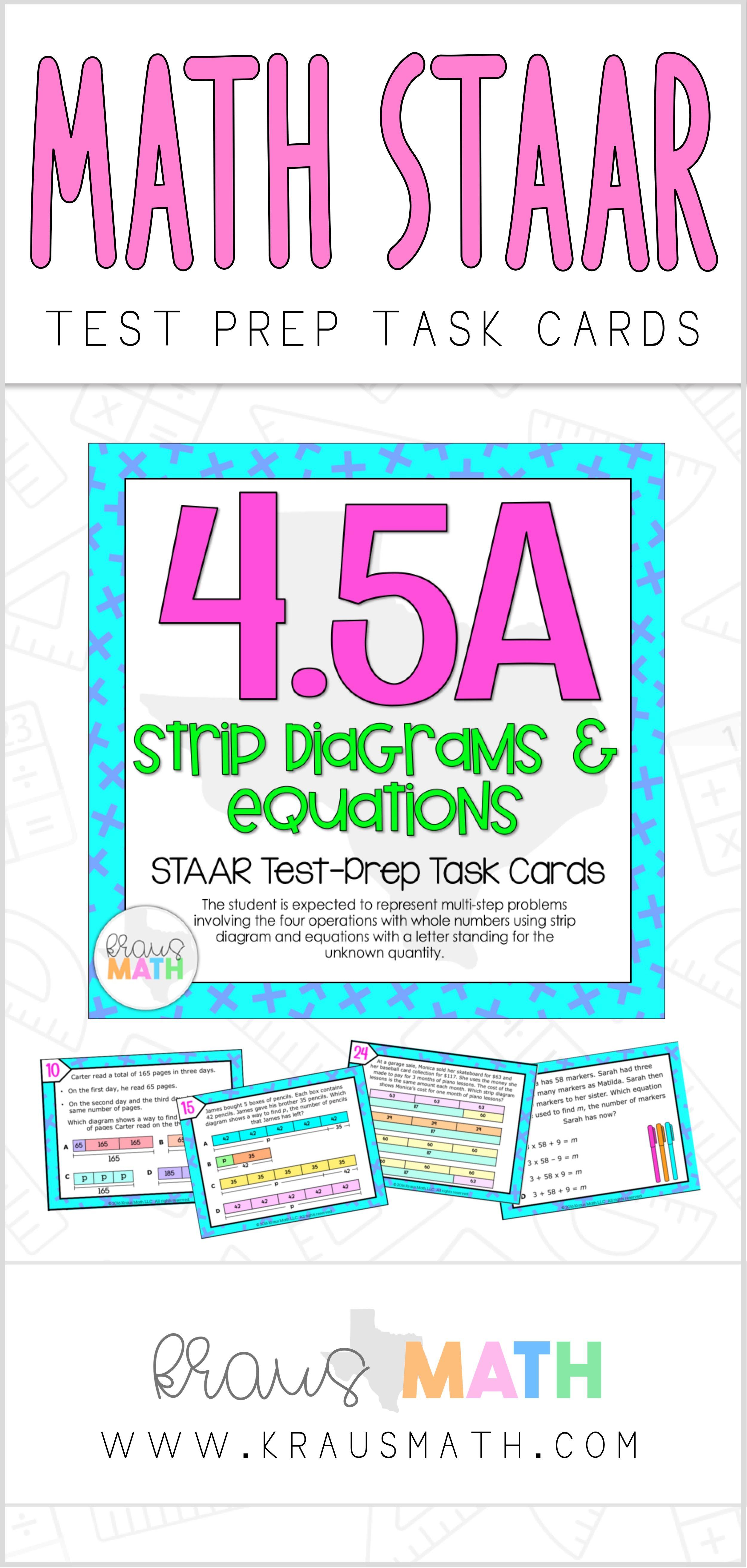4 5a: strip diagrams & equations staar test prep task cards | kraus math