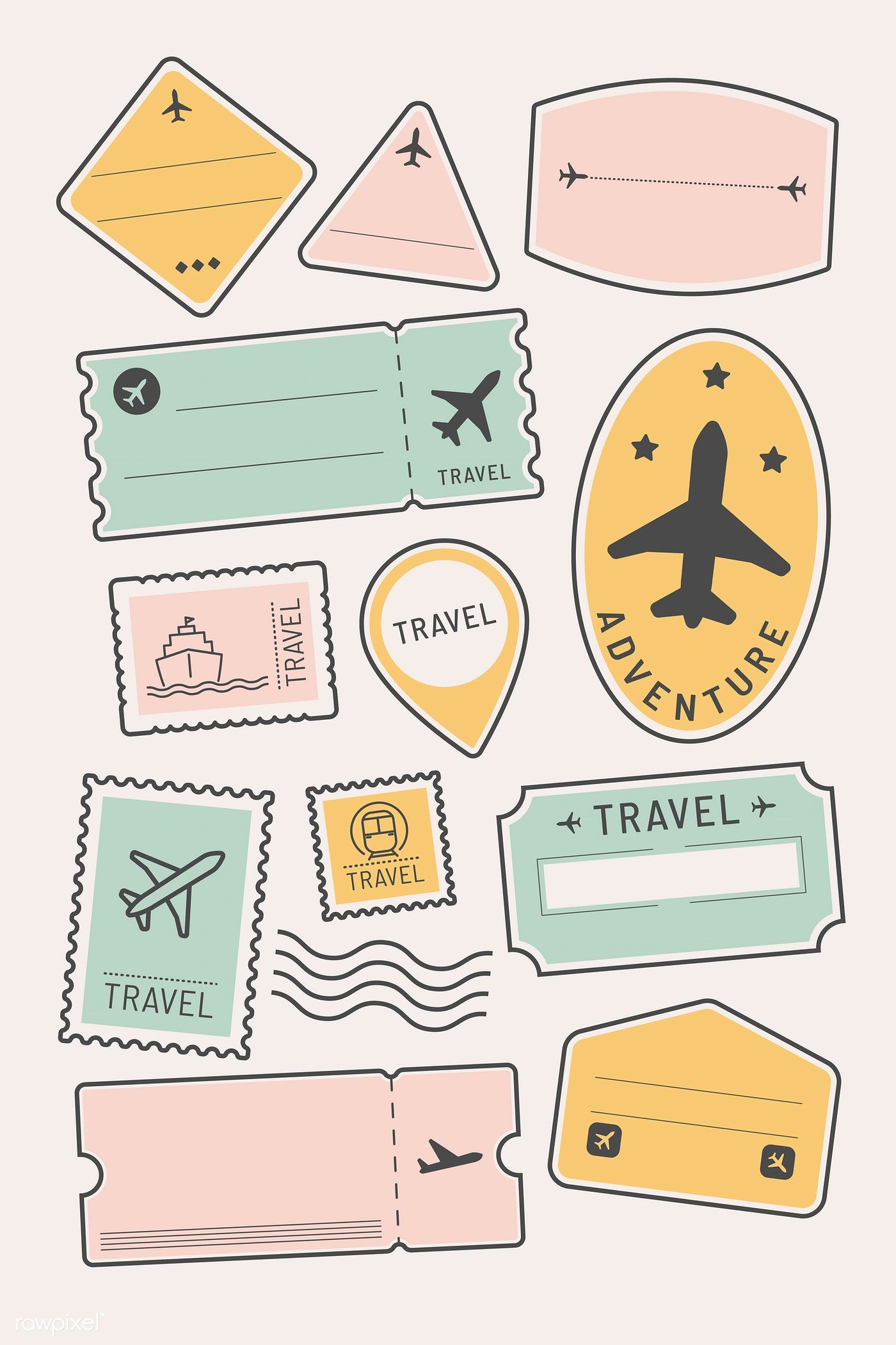 Travel stickers and badge set vector | premium image by rawpixel.com / Mon