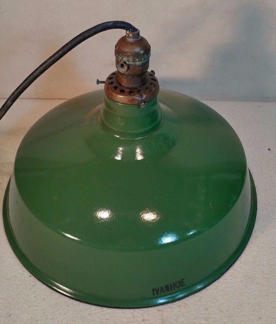 Vintage Green Porcelain Industrial Light Fixture Vintage