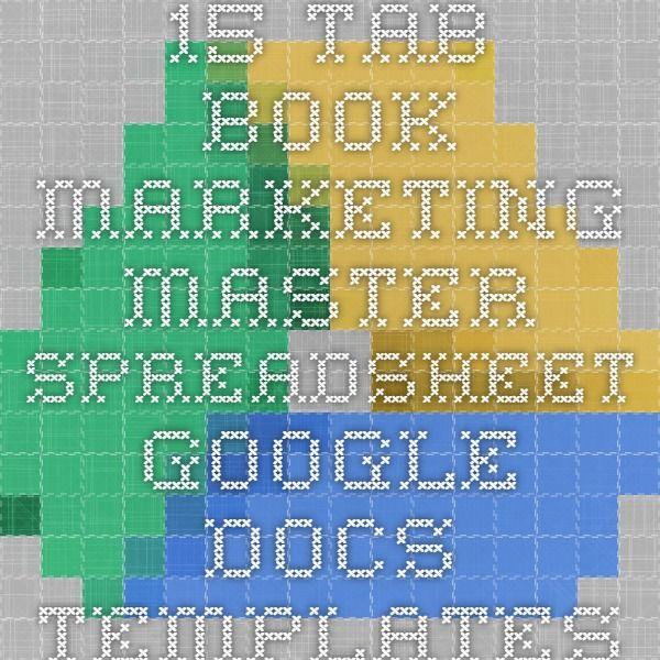 15-Tab Book Marketing Master Spreadsheet - Google Docs Templates