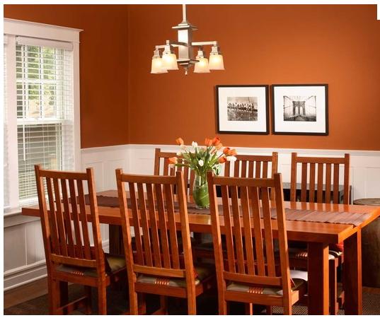 Burnt Orange Dining Room | Orange dining room, Living room ...
