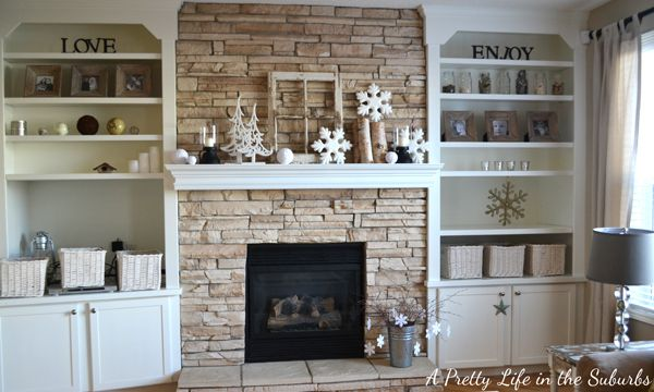 Love The Stone Fireplace With The White Built Ins Similar Layout