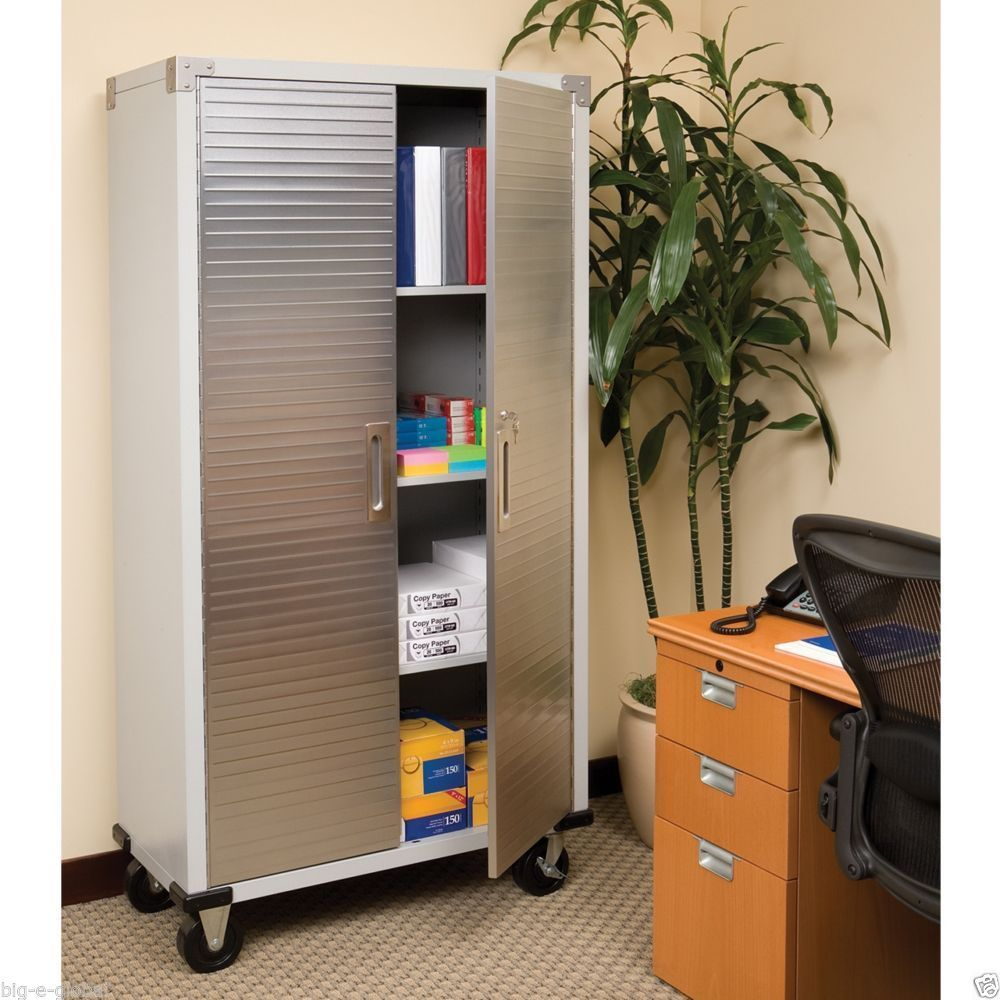 Details About Garage Tall Steel Rolling Tool Storage Cabinet Shelving Stainless Steel Doors Tall Cabinet Storage Locking Storage Cabinet Office Storage Cabinets